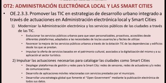 Objetivo Temático 2: Administración Electrónica local y las Smart Cities