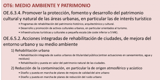 Objetivo Temático 6: Medio Ambiente y Patrimonio