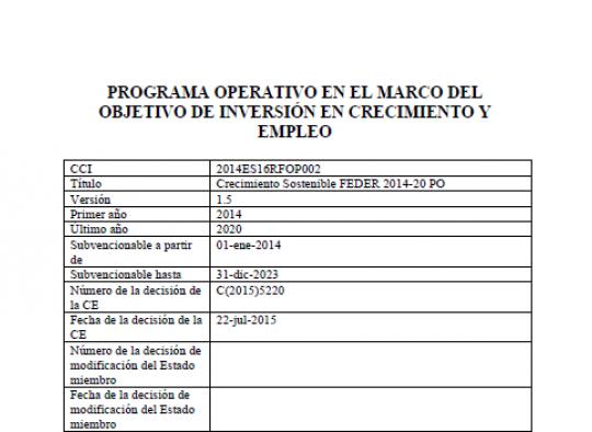 PROGRAMA OPERATIVO DE CRECIMIENTO SOSTENIBLE EDUSI